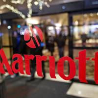 Marriott International hotel group logo on a window