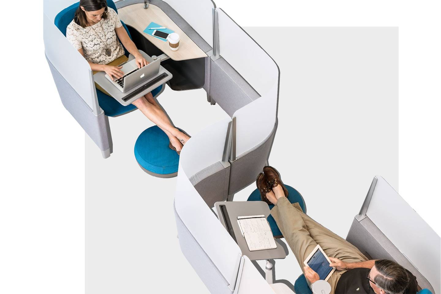 Behind the scenes at steelcase the company designing the for Futuristic office desk