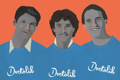 Doctolib co-founders (l-r) Ivan Schneider, Jessy Bernal and Stanislas Niox-Chateau
