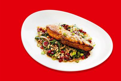 Here's how Lyfe Kitchen's fast-food-style efficiency applies to its Loch Duart salmon entrée. Bon appetit. (Victoria Tang)
