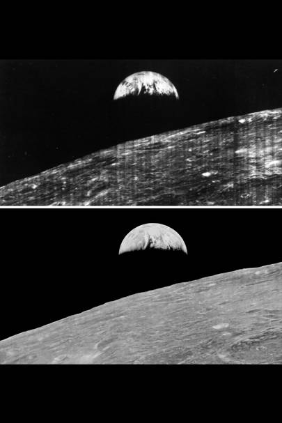 Comparison of the original Earthrise image as seen by the public in 1966 and the restored image released in 2008
