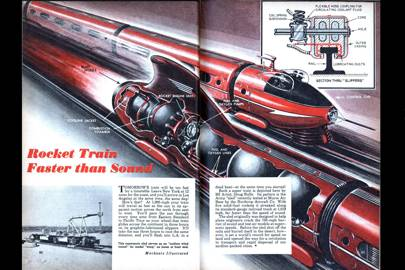 Rocket train faster than sound -- Mechanix Illustrated, 1948