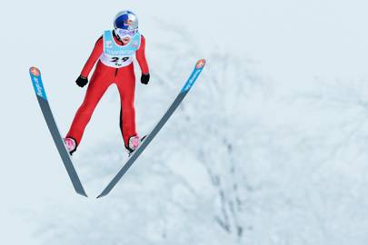 Sarah Hendrickson of the USA jumps during day two of the FIS Women's Ski Jumping World Cup at Zao Jump Stadium on February 10, 2013 in Yamagata, Japan