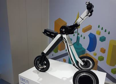 Ford's TriCity electric tricycle concept on the company's stand at Mobile World Congress 2017