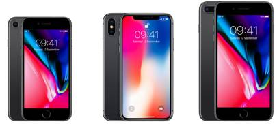 Left to right: iPhone 8, iPhone X, iPhone 8 Plus