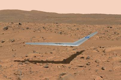 This illustration shows what a Prandtl-m might look like flying above the surface of Mars