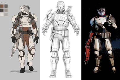 Left: A clean, line-only concept is created, adding refinements such as colours // Centre: Based on the refined plan, artists build an articulated wireframe 3D model // Right: Textures, colours, shading and key accessories (such as guns) are added