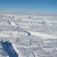 Photo of the Thwaites ice shelf taken during an October 2013 Operation IceBridge aerial survey