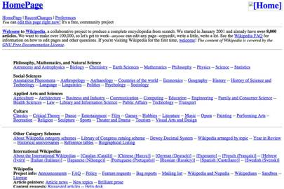 Wikipedia launched in January 2001. A few months later, this is what its homepage looked like
