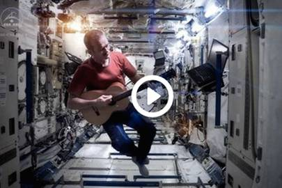 "Screenshot from Hadfield's ""Space Oddity"" video cover filmed aboard the ISS"