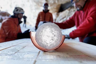 The extracted ice cores contain ancient climate-change data which goes back, in some cases, thousands of years