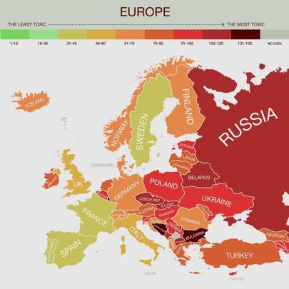 Most toxic countries revealed in carbon fuelled map wired uk a closeup of the most toxic countries in europe gumiabroncs Image collections