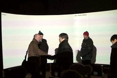 Shaking hands by the quarter-scale Bristol screen, Neil Nightingale and Atsu Hasegawa