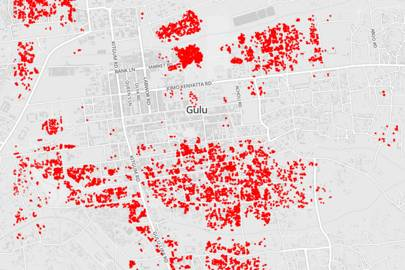 This map shows how huts are tightly packed in, demonstrating the risk of fire