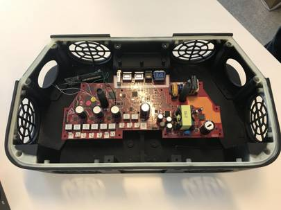 The internal circuitry of the Sky Soundbox, supplied by audiophile brand Devialet