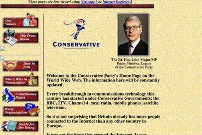 Conservative Party website, 1997