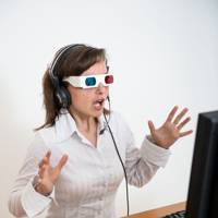 Woman dealing with 3D