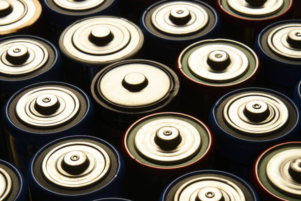 Overhead view of batteries neatly aligned.