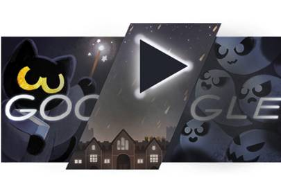 Happy Halloween Google Doodle turns Momo the cat into a ghost ...