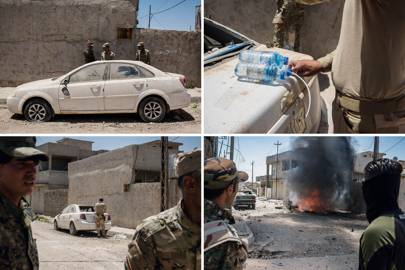 Ahmed Abbas Ali and his explosive ordinance unit detonate a suspect abandoned Chevrolet in west Mosul