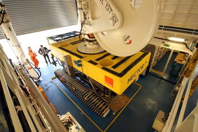 Once the repair is made the ROV uses a high-pressure water jet to bury the cable up to 1.5 below the seabed