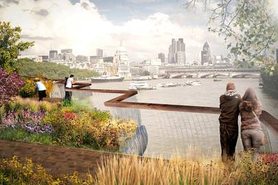 Proposed pedestrian crossing for the River Thames, stretching from Aldwych to the South Bank