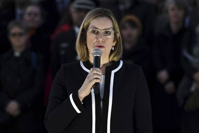 Home secretary Amber Rudd speaks at a candlelit vigil at Trafalgar Square on March 23, 2017 following the terrorist attack on Westminster