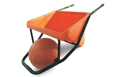 """The ballbarrow:  Sell inventively  Later came a wheelbarrow. """"This produced nervous giggles from garden centres – they thought it looked ridiculous. I sold it mail order, which was successful. It taught me an interesting thing – if you can reach them, there are people who get excited when they see something different."""""""