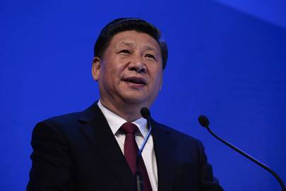 Chinese President Xi Jinping delivering an address at the World Economic Forum at Davos
