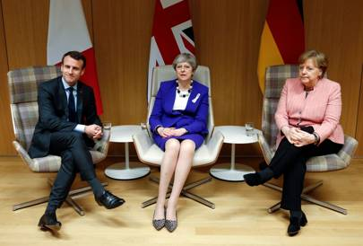 Emmanuel Macron, Theresa May, Angela Merkel