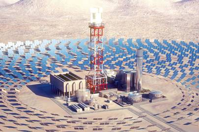Heliostats harness the Sun in this plant proposed for California