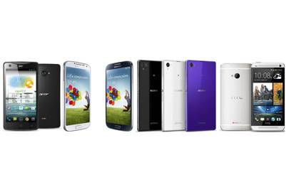 Acer Liquid S1, Samsung Galaxy S4, Sony Xperia Z1, HTC One