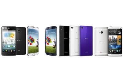 Acer Liquid S1, Samsung Galaxy S4, Sony Xperia Z1, HTC One