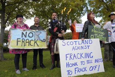 Fracking protestors in Scotland