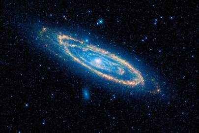 Andromeda, also known as Messier 31 or simply M31, captured by all four of WISE's infrared detectors