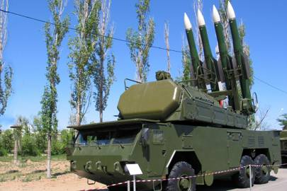 "Self-propelled ""Buk-M2"" surface-to-air missile system on a military exhibition at the Kapustin Yar missile range, Znamensk, Russia"