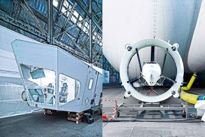 Left: Airlander 10's flight deck is positioned directly below the helium-filled envelope. Right: One of four propulsors. Two are fitted to the sides, and two at the aft.