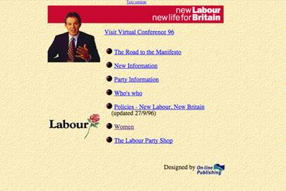 The Labour Party's 1997 website included a section for women and an online shop