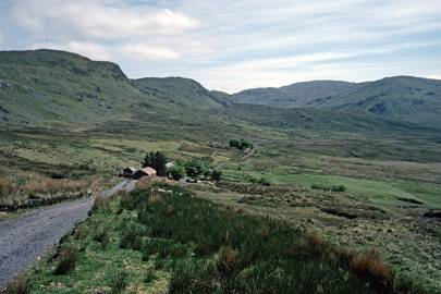 Mountain road in the Blue Stack Mountains, Donegal, Ireland.