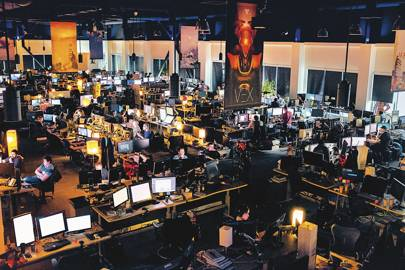 Bungie's office in Seattle. The banners feature locations and characters  (like the Vex)  from Destiny