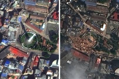 Satellite footage of the nine-storey, 61.88-metre-tall tower at Sundhara in Kathmandu, before and after the earthquake