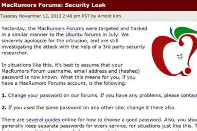 Hack of MacRumors forums exposes password data for 860,000 users