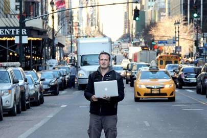 Cesar Cerrudo in downtown New York City, conducting field test of vulnerable traffic sensors