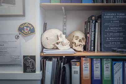 Black's office is littered with paraphernalia collected during her time researching links between anatomy and forensic science
