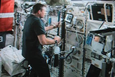 Danish astronaut Andreas Mogensen controlling the robot from aboard the International Space Station