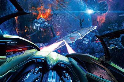 "A screenshot from EVE Valkyrie, the first ""triple-A"" title announced for the Oculus Rift"