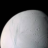 Cracks in Saturn's moon Enceladus taken by the Cassini spacecraft during its close flyby on 9 March and 14 July, 2005.