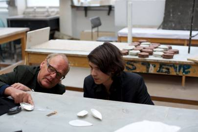 Charles Michel (right) and Andreas Fabian work on new cutlery designs