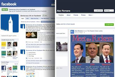Facebook's Democracy UK page, then and now. More than 160,000 people 'liked' Facebook's Democracy UK page during the 2010 general election. It has since been taken over.
