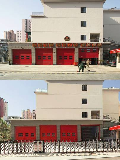 """Above: a fire station in central Shanghai. Below: the same fire station in Baidu Total View. Browning found this fire station in central Shanghai, not far from the popular shopping district of Xintiandi. """"That's just next to where I lived,"""" he says. Of all the censored images, it seems the most inexplicable: what reason could there be for concealing the location of a fire station? """"Why would they do that?"""" Browning wonders. """"Who's given the directive to make sure these are deleted?"""""""